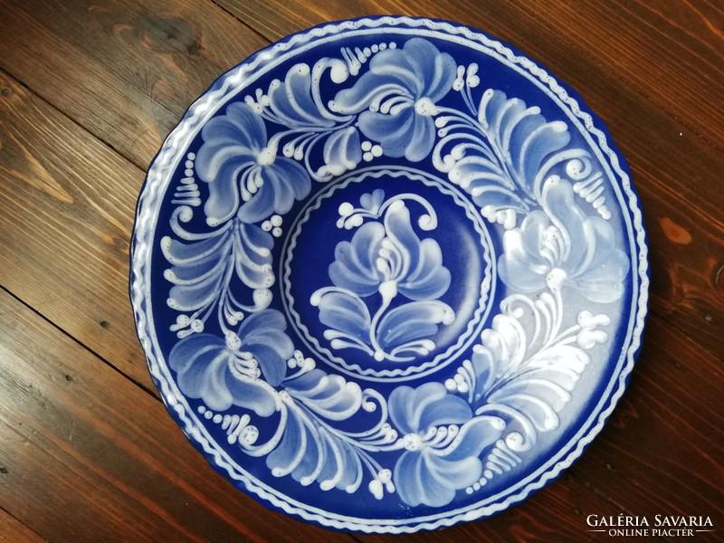 Gyönyörű gazdagon díszített kék fehér pünkösdi rózsa virágos mázas kerámia  falitányér - Kerámia  7a2c8a929e